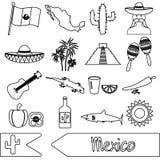 Van het themasymbolen van het land van Mexico geplaatste het overzichtspictogrammen stock illustratie