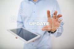 Van het UPDATEsoftware en besturingssysteem verbetering op het virtuele scherm royalty-vrije stock foto's