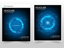 Van het van de bedrijfs cirkeltechnologie abstract van het de Vlieger jaarverslag Brochurepamflet het malplaatjeontwerp, de lay-o stock illustratie