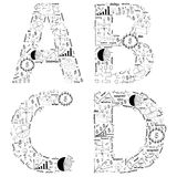 Van het van de bedrijfs tekening het conceptenidee strategieplan van alfabetbrieven Royalty-vrije Stock Afbeeldingen