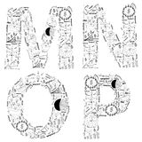 Van het van de bedrijfs tekening het conceptenidee strategieplan van alfabetbrieven Stock Foto's
