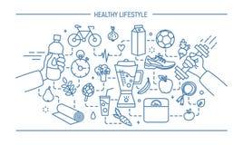 Van het van de de illustratie gezonde levensstijl, sport en voedsel van de lijnkunst vlakke vectorvoorwerpen Stock Foto