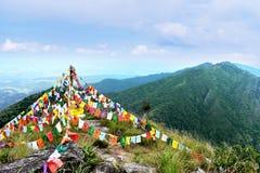 Van het Verblijfsdoi van de kamptent van de de Berghemel de Ochtendzonsopgang Thailand Stock Afbeelding