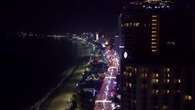 Van het verkeersmegapolis van de nachtstraat de luchtmening stock videobeelden