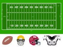 Van het voetbalgebied en materiaal pictogrammen Stock Afbeeldingen