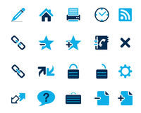 Van het voorraad Vector blauwe Web en bureau pictogrammen in hoge resolutie Stock Foto