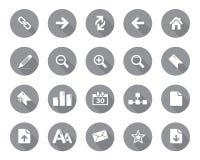 Van het voorraad Vector grijze rond gemaakte Web en bureau pictogrammen met schaduw in hoge resolutie Royalty-vrije Stock Fotografie
