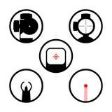 Van het wapenwerkingsgebied of kanon geplaatste gezichtspictogrammen Royalty-vrije Stock Afbeeldingen