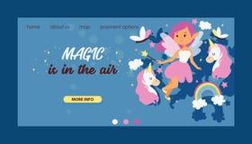 Van het het Weblandingspagina van het feemeisje vector magisch faerykarakter en het beeldverhaaleenhoorn van de fantasie mooie pr stock illustratie