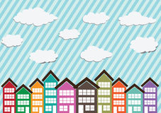 Van het weinig Stadshuizen in de stad en huis ontwerp Royalty-vrije Stock Foto's