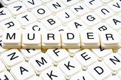 Van het het woordkruiswoordraadsel van de moordtekst van de de titeltitel de achtergrond van de het etiketdekking Het stuk speelg royalty-vrije stock afbeeldingen