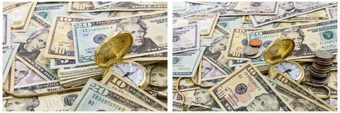 Van het het zakhorlogeconcept van het tijdgeld het contante geldcollage royalty-vrije stock afbeelding