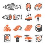 Van het zalmvissen en product pictogramreeks royalty-vrije illustratie
