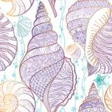 Van het zeeschelp de naadloze patroon Onderwateroverzees betegelde Zomer als achtergrond Royalty-vrije Stock Afbeeldingen