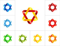 Van het zes-punt van het het ontwerpmalplaatje sterembleem de verschillende kleuren Royalty-vrije Stock Foto