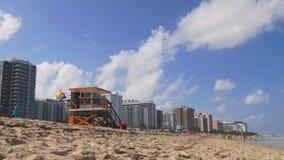 Van het het zuidenstrand van Miami van de de zomerdag het levenspanorama 4k Florida de V.S. stock video