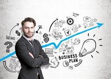 Van Hipsterzakenman en businessplanpictogrammen Stock Afbeeldingen