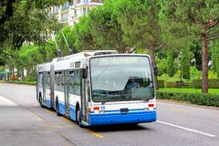 Van Hool AG300T. MONTREUX, SWITZERLAND - AUGUST 6, 2014: Articulated trolleybus Van Hool AG300T at the city street Stock Photos