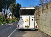 Empty horse trailer. Van Horse transport Stock Images
