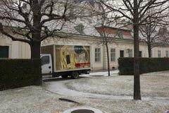 Van inside the belvedere garden in Vienna with the promotion of Klimt Stock Photo