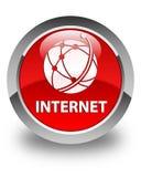 Van Internet (globaal netwerkpictogram) de glanzende rode ronde knoop Royalty-vrije Stock Foto