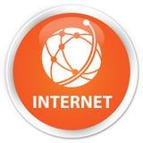 Van Internet (globaal netwerkpictogram) de premie oranje ronde knoop Stock Foto