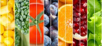 Van inzamelingsvruchten en groenten achtergrond Stock Foto's