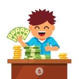 Van jong geitjefinanciën en besparingen concept Stock Afbeeldingen