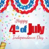 4 van Juli - de groetkaart van de Onafhankelijkheidsdag Royalty-vrije Stock Afbeeldingen