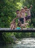 4 van Juli zwemmen, Strafford Vermont Stock Foto