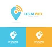 Van kaartwijzer en wifi embleemcombinatie GPS-merkteken en signaalsymbool of pictogram Unieke speld en radio, Internet logotype Royalty-vrije Stock Foto's