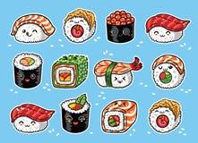 Van Kawaiibroodjes en sushi de reeks van het mangabeeldverhaal Vector illustratie Royalty-vrije Stock Fotografie