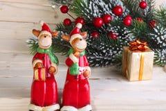 Van Kerstmis (Nieuwjaar) de cijfers van herten Stock Afbeelding
