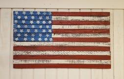Van Kerstmisdecoratie Amerikaanse Vlag als achtergrond Stock Foto