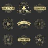 Van Kerstmisetiketten en Kentekens Vector Geplaatste Ontwerpelementen stock foto