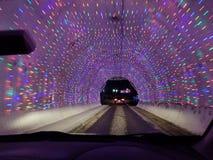 Van Kerstmislichten van Eppingsmotorspeedway de Lichtenaandrijving van Chrismas door royalty-vrije stock afbeeldingen