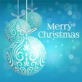 Van Kerstmismaori van de decoratiebal turkooise korusnuisterij voor Vrolijke Kerstmis stock afbeelding