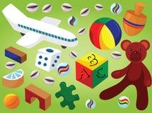 Van kinderenspeelgoed en Spelen Vectorillustratie Stock Fotografie