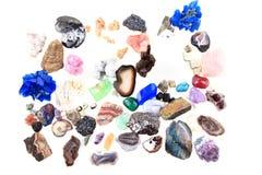 Van kleurenmineralen en gemmen inzameling Stock Foto's