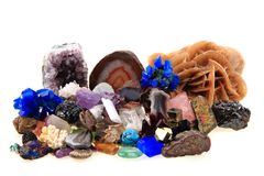 Van kleurenmineralen en gemmen inzameling Stock Foto