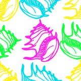 Van krabbelszeeschelpen naadloos patroon als achtergrond Royalty-vrije Stock Foto's
