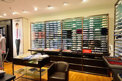 Van Laakc shirts stand at luxury clothing store Stock Image