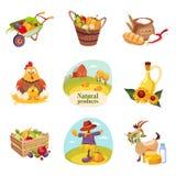Van landbouwbedrijfproducten en Dieren Reeks Heldere Stickers Stock Afbeeldingen