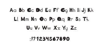 Van letters voorzien van doopvont het decoratieve hand getrokken ABC, gewaagde brieven stock illustratie