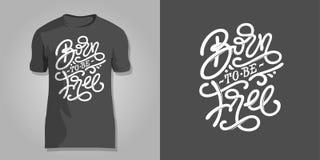 Van letters voorzien GEBOREN op donkergrijze achtergrond voor druk op T-shirts, dekking van blocnote VRIJ TE ZIJN, sketchbooks, p stock illustratie