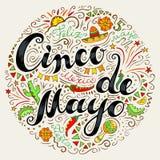Van letters voorzien het uit de vrije hand van Cinco De Mayo en decoratieve elementen royalty-vrije illustratie