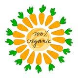 Van letters voorzien 100% organisch met vectorillustratie van wortel Embleem, zegel Gezond, vers, organisch, ecovoedsel Groenten, vector illustratie