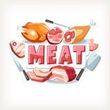 Van letters voorziend de tekstbericht van het vleesembleem Stock Foto's