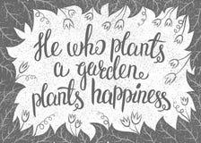 Van letters voorziend hij die een tuin plant plant geluk Vector illustratie Stock Afbeeldingen