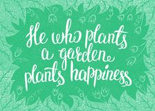 Van letters voorziend hij die een tuin plant plant geluk Vector illustratie Royalty-vrije Stock Afbeeldingen
